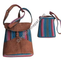 Leather cotton small bag