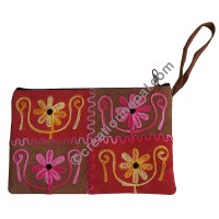 4-patch leather suede purse
