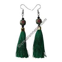 Decorated bead green yarn earring