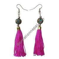Decorated bead pink yarn earring