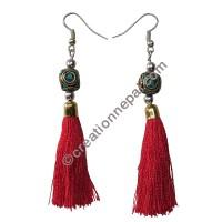 Decorated bead red yarn earring