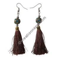 Decorated bead brown yarn earring