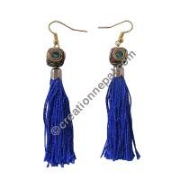 Decorated bead purple-blue yarn earring