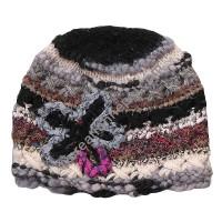 Wool-silk black star cap