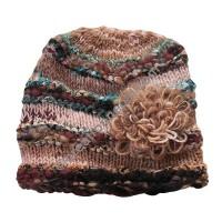 Wool-silk brown color flower cap
