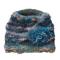 Wool-silk turquoise color flower cap