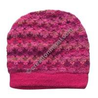 Colorful woolen pink cap