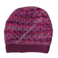 Colorful woolen purple cap