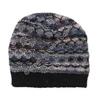 Colorful woolen black cap