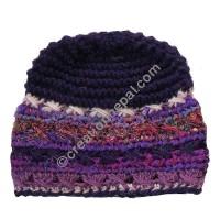 Wool and silk stripes purple cap