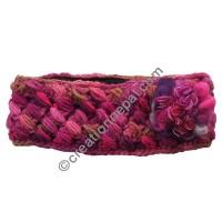 Silk-wool flower purple headband