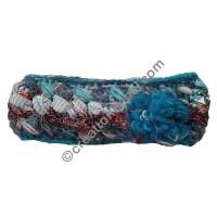 Silk-wool flower turquoise headband