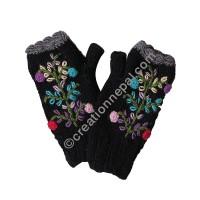 Woolen flower Black tube gloves