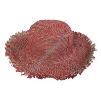 Red shade hemp round hat