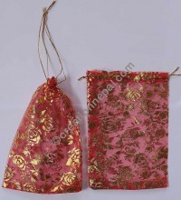 Golden printed transparent gift pouch