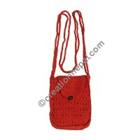 Cotton crochet small orange bag