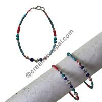 Assorted stone beads single bracelet