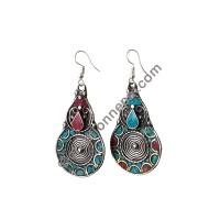 Colorful tear-drop earring