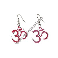 Coral Om Mantra earring