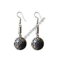 White metal Ganesha earring