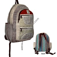 Patch work hemp-cotton backpack