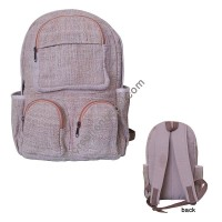 Multi pocket natural hemp backpack