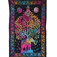 Elephant tree colorful tapestry
