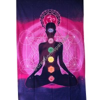 7-chakra effect Pink tapestry