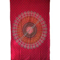 Circle mandala printed red tapestry