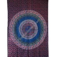 Circle mandala printed brown tapestry