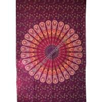 Circle mandala printed burgundy tapestry