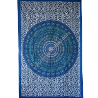 Circle mandala printed blue tapestry