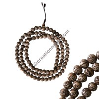Mantra carved conch beads Mala