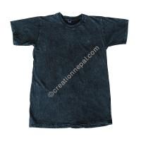 Dark blue stone wash stretchy cotton T-shirt
