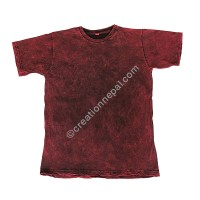 Maroon stone wash stretchy cotton T-shirt
