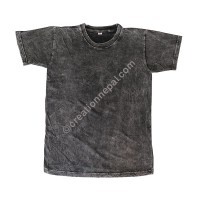 Black stone wash stretchy cotton T-shirt