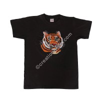 Tiger embroidery cotton T-shirt