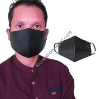 Leather black color face mask