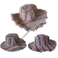 Colorful stripes Hemp round hat