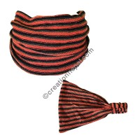 Cotton knitting orange-black stripes headband