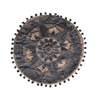 Lotus embroidery round cushion cover
