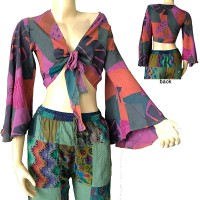 Front tie printed cotton top
