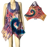 Colorful tie-dye stretchy cotton halter top