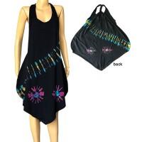 Stretchy cotton tie dye halter dress
