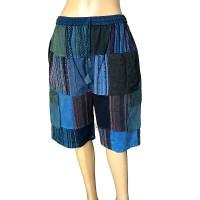 Stripy-plain patch work Blue shorts