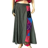 Hand embroidery design Green open skirt