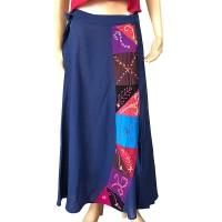 Hand embroidery design Blue open skirt