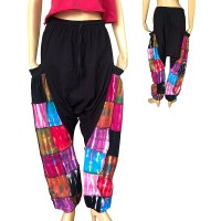 Tie dye patches solid-hip stretchy trouser