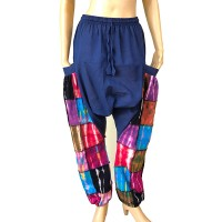 Stretchy tie dye patches solid-hip trouser