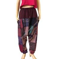 Printed & plain patch work Brown Afgani trouser